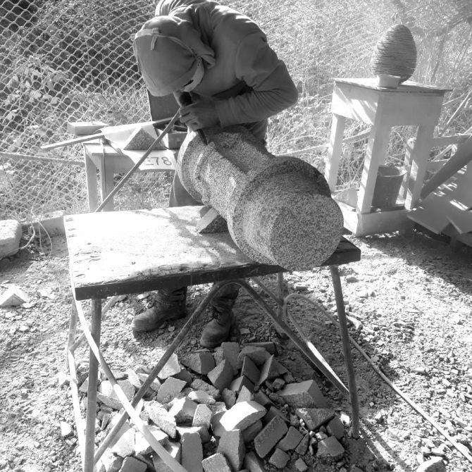 échauguette granite breton taille de pierre Lucien Mazé