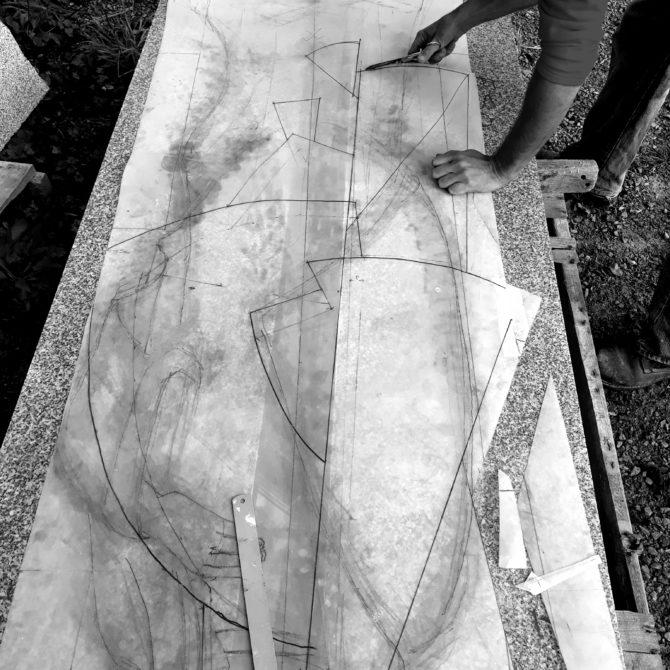 sculpture en Granite Bretagne Lucien Mazé tracé