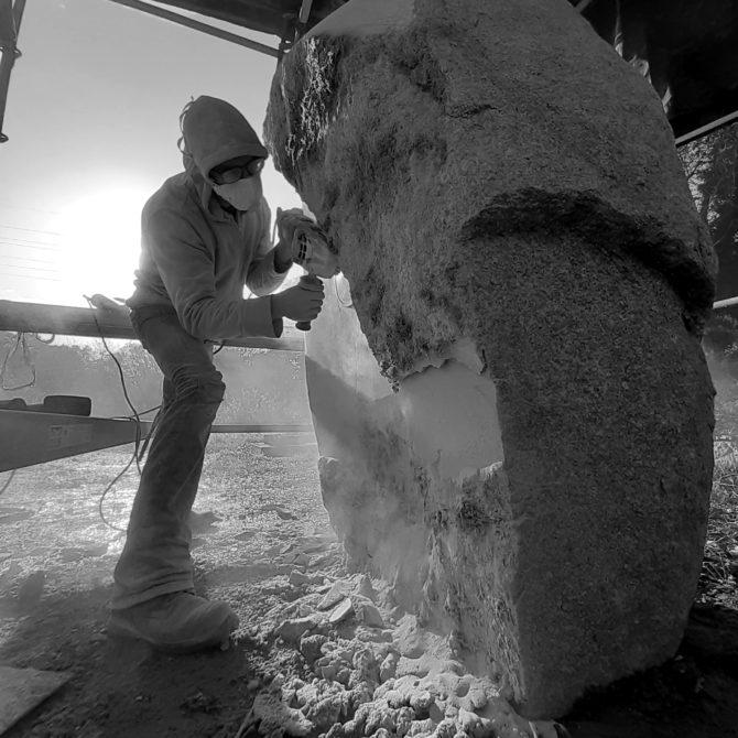 Sculpture Pompiers de Plancoet Granite Bretagne Lucien Maze