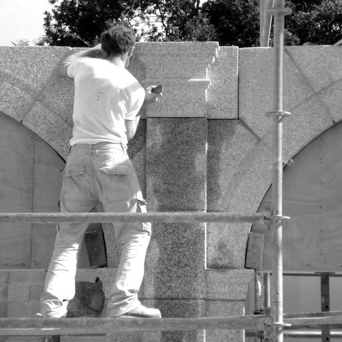 Arcade granite Lucien Mazé Taille de pierre La Coudraie bretagne