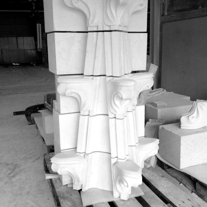 Taille de Pierre fleuron ornements sculpture Lucien Mazé
