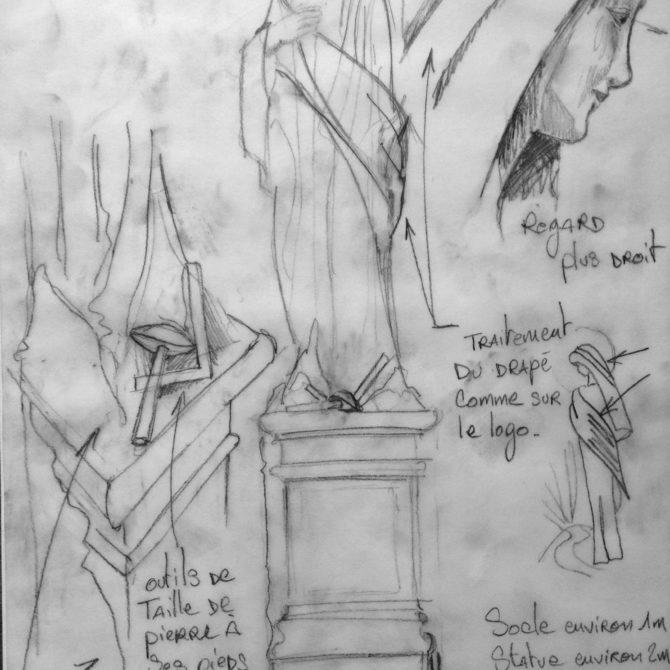 Sculpture vierge monumentale granite Breton projet Notre Dame des Granitiers Lucien Mazé