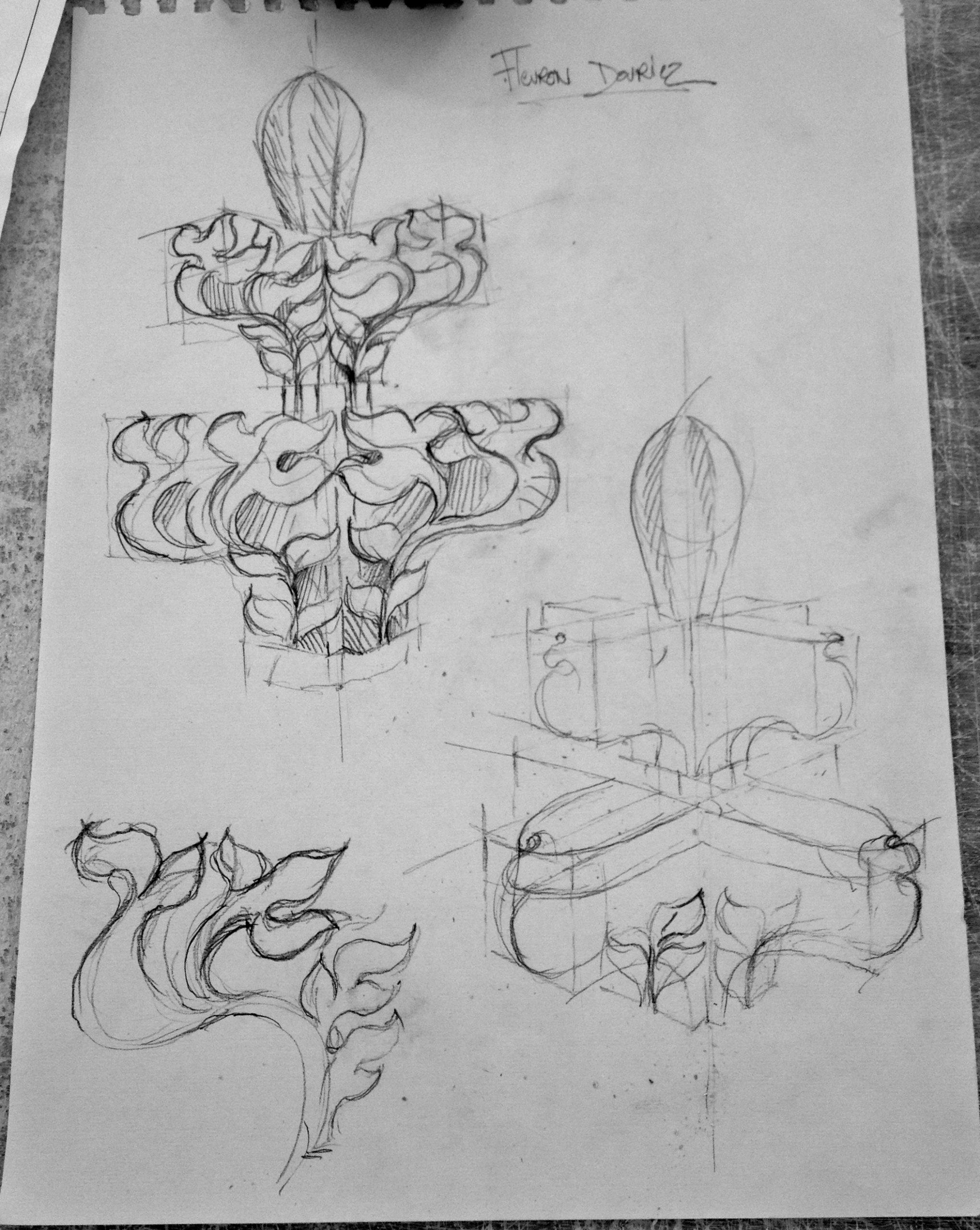 Taille de Pierre fleuron ornements crochets Lucien Mazé