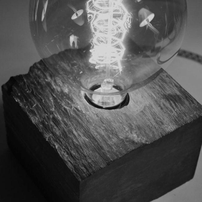 design pierre Lampe cube en Ardoise Lucien Mazé Bretagne