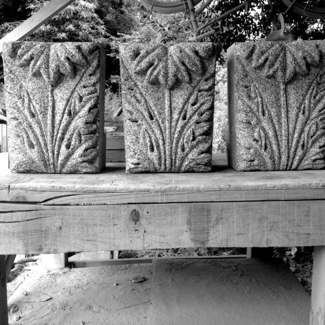 Taille de Pierre granite ornements acanthe ornements sculpture Lucien Mazé